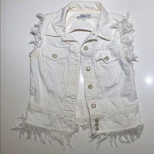 Open back diesel white jean vest